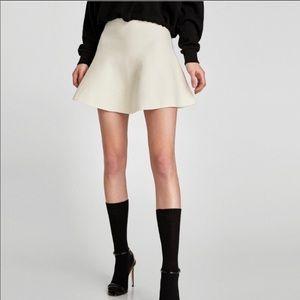 Zara knit wool white skirt